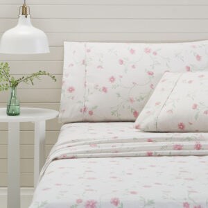 Bettina Fitted Sheet in Pink from the Moran Home Bedroom Collection