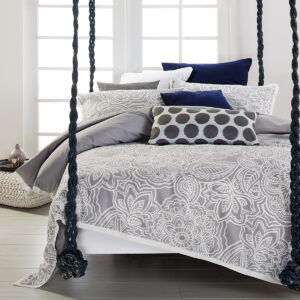 Mecca Comforter Set in Silver from the Moran Home Bedroom Collection
